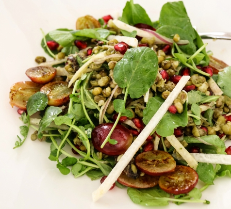 Anchor & Den Recipe: Green Lentil and Roasted Grape Salad